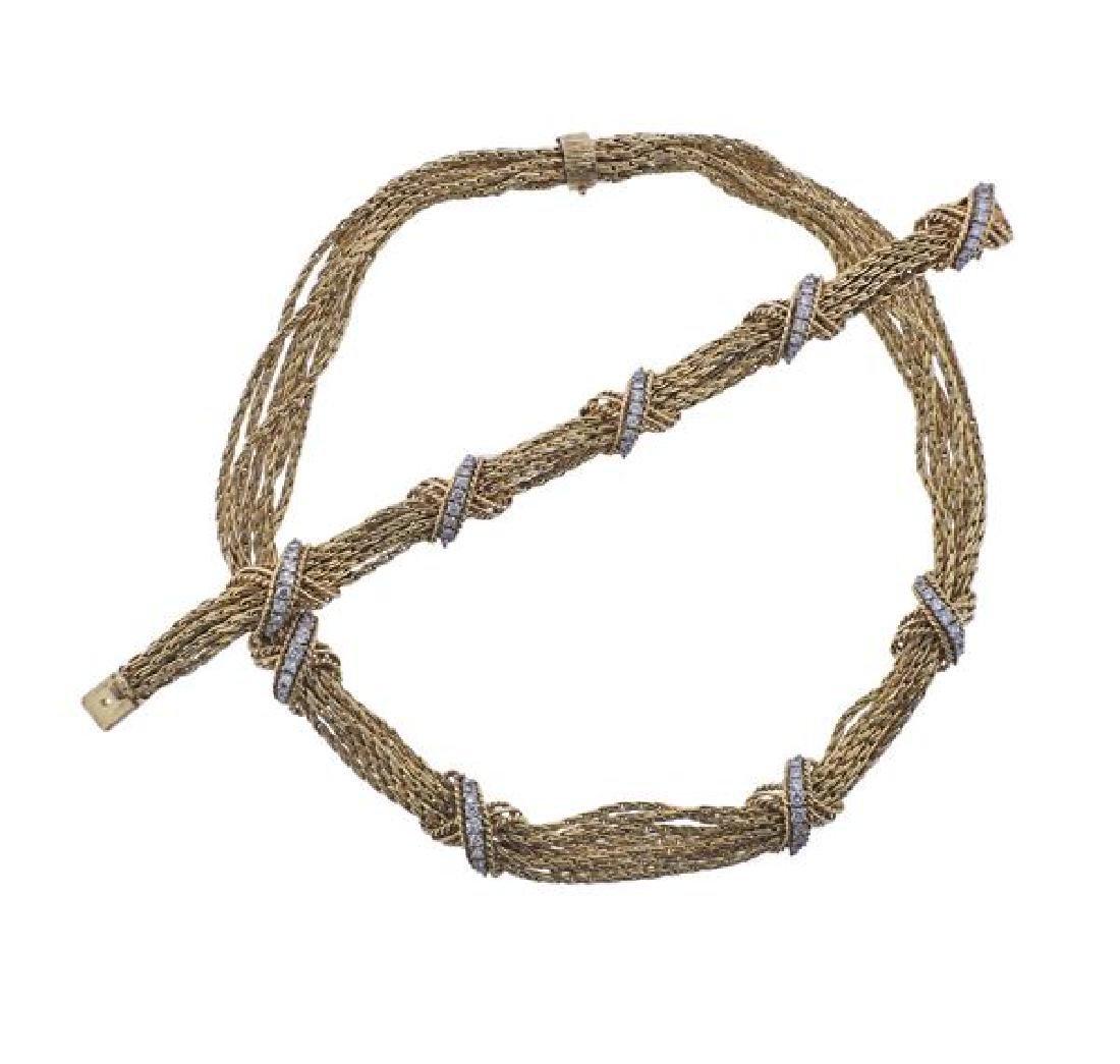 14K Gold Diamond X Bracelet Necklace Set