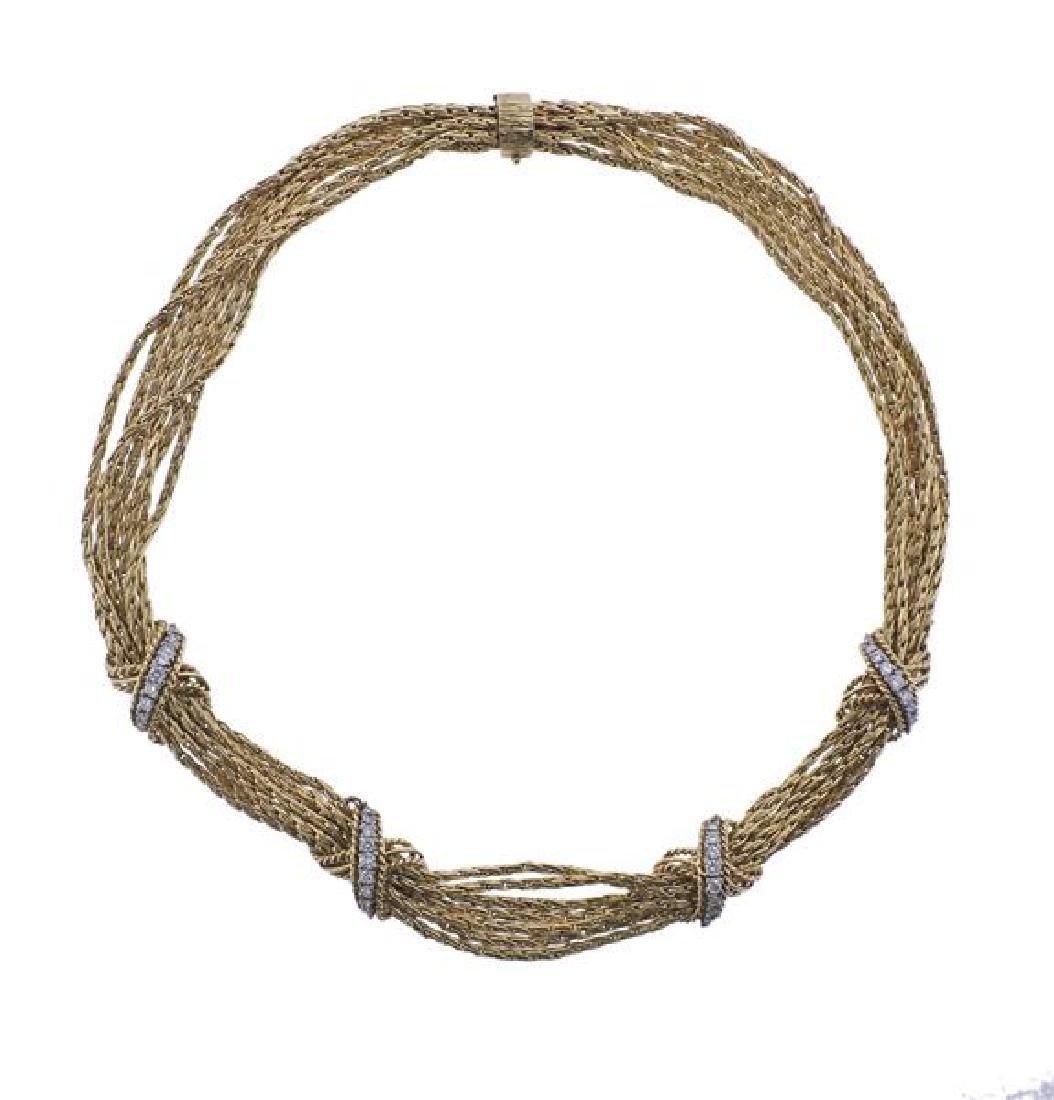 14K Gold Diamond X Bracelet Necklace Set - 2