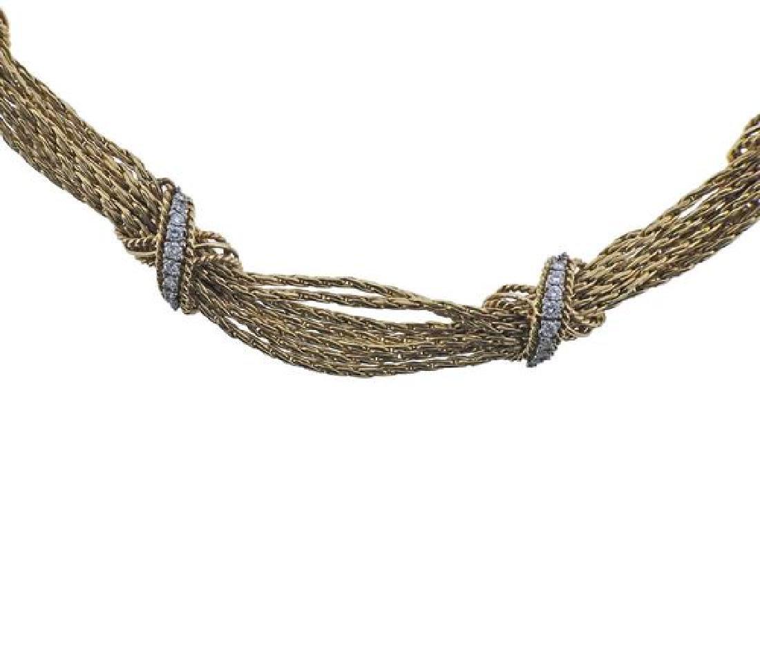 14K Gold Diamond X Bracelet Necklace Set - 3