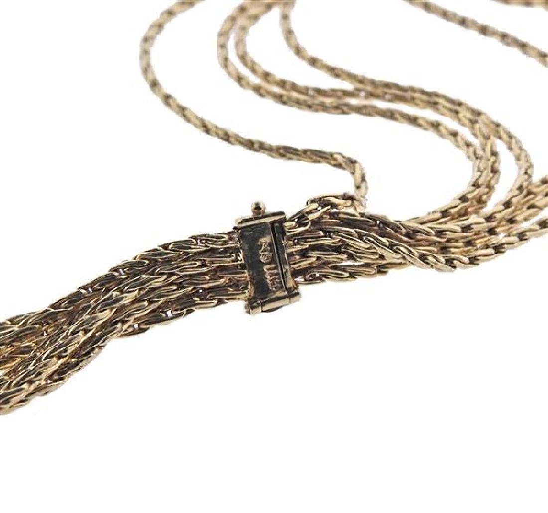 14K Gold Diamond X Bracelet Necklace Set - 4