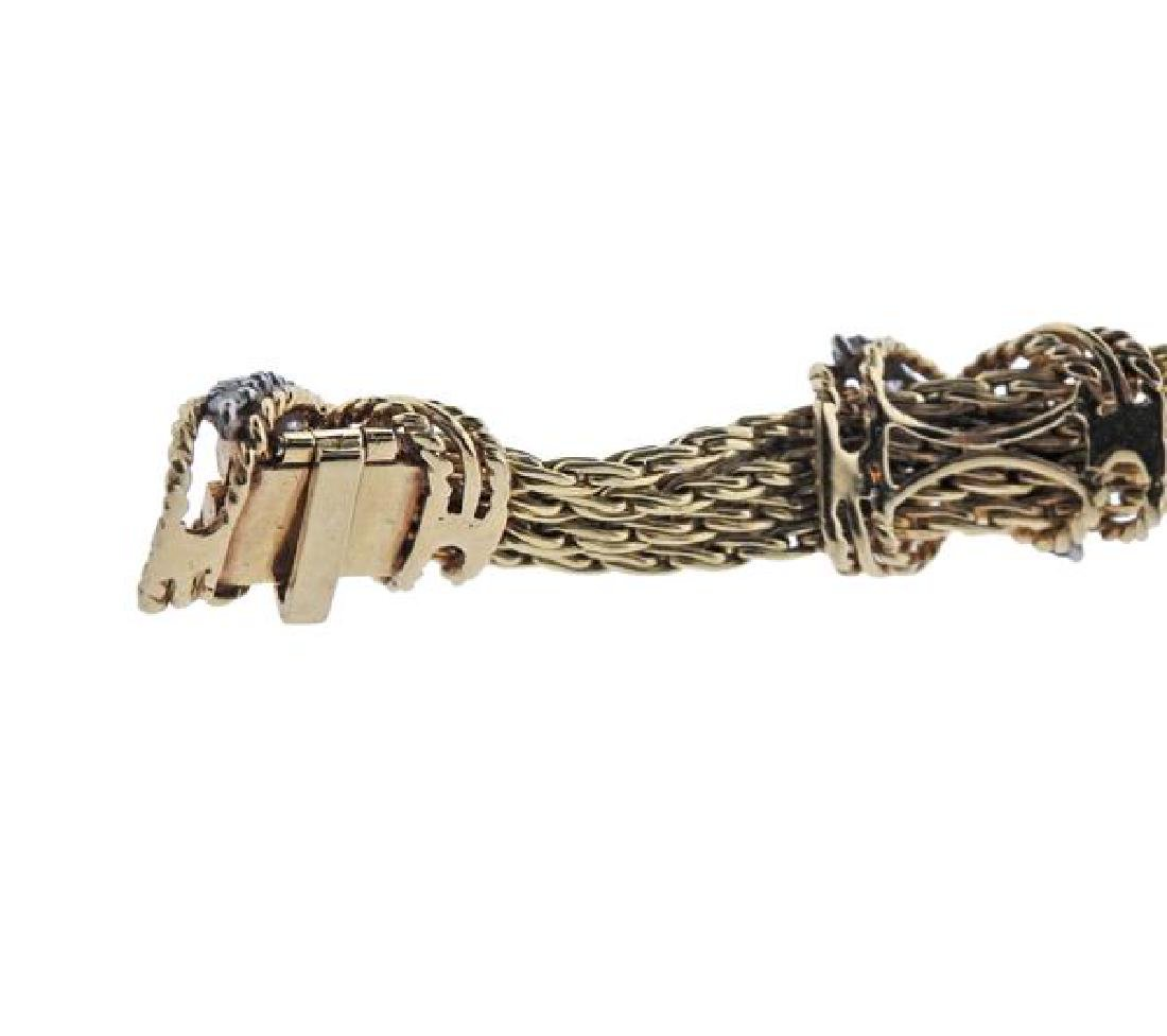 14K Gold Diamond X Bracelet Necklace Set - 7