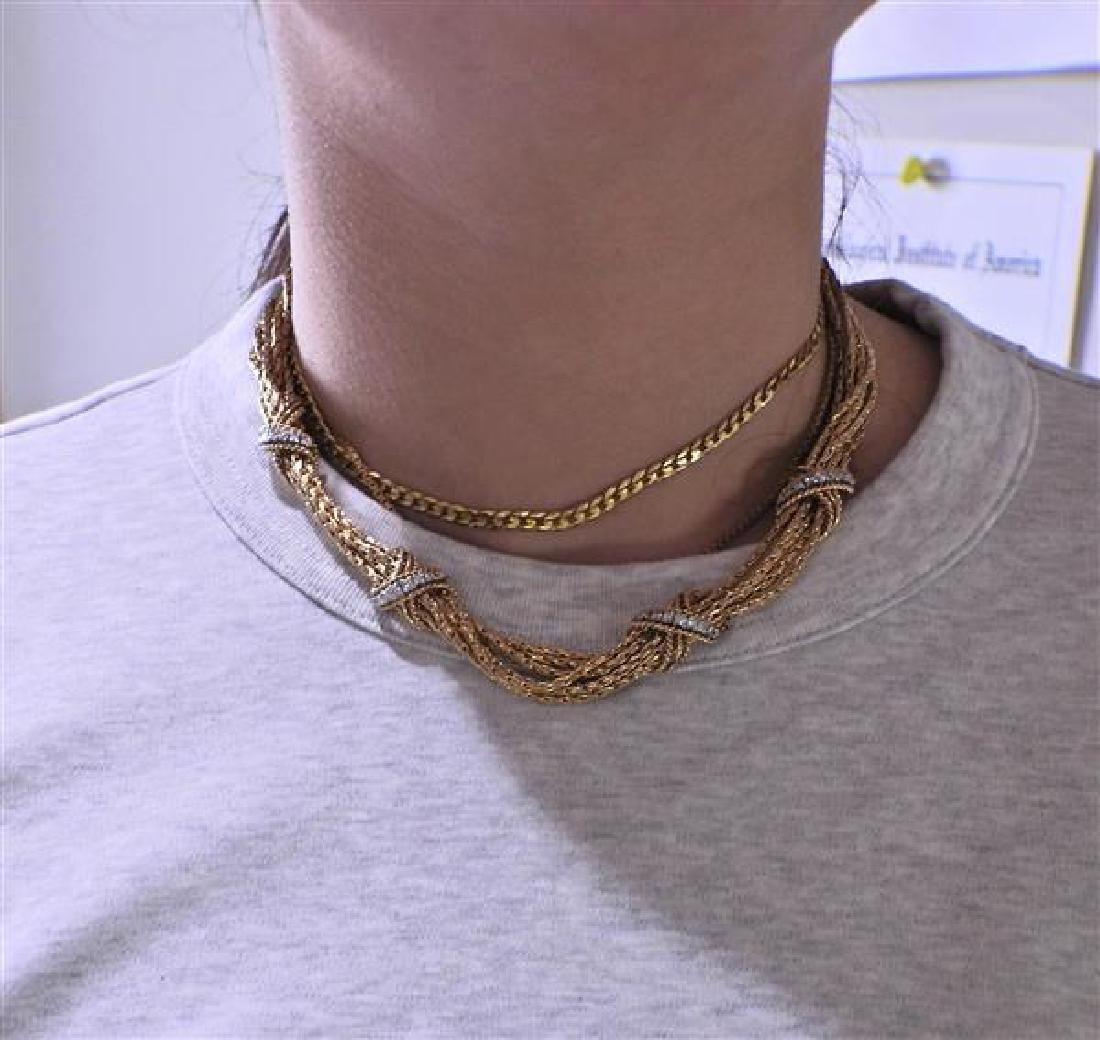 14K Gold Diamond X Bracelet Necklace Set - 8