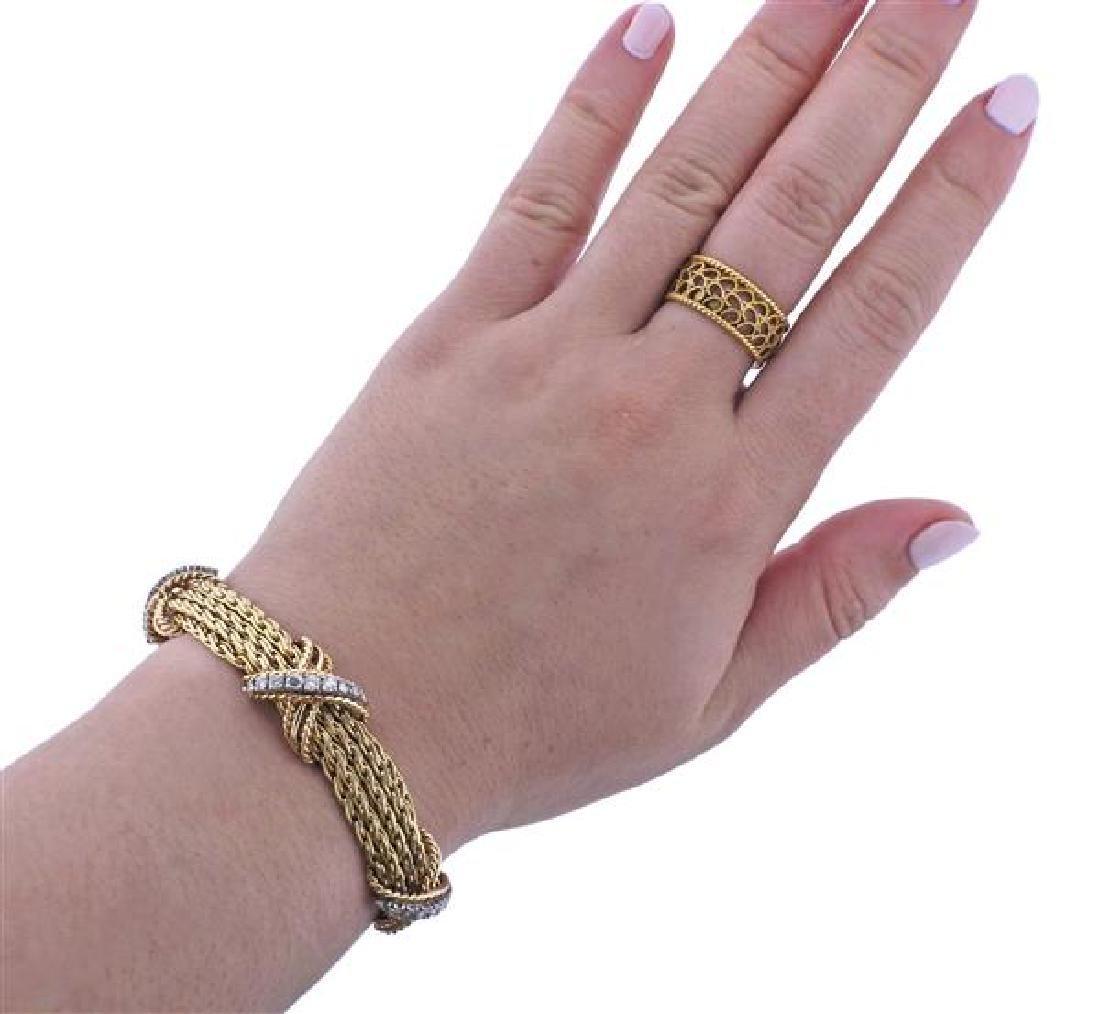 14K Gold Diamond X Bracelet Necklace Set - 9