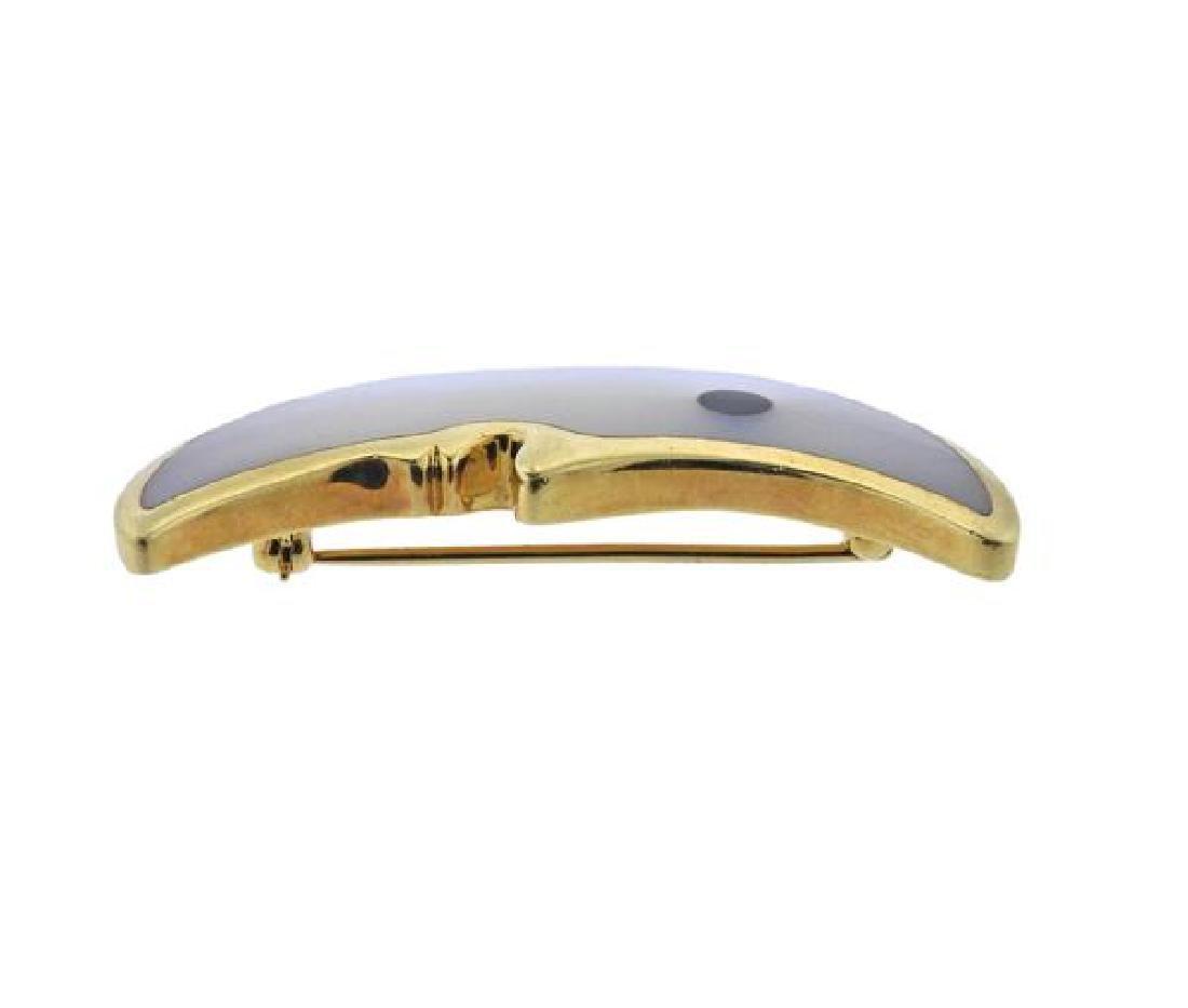 Tiffany & Co 18K Gold MOP Half Moon Brooch - 2