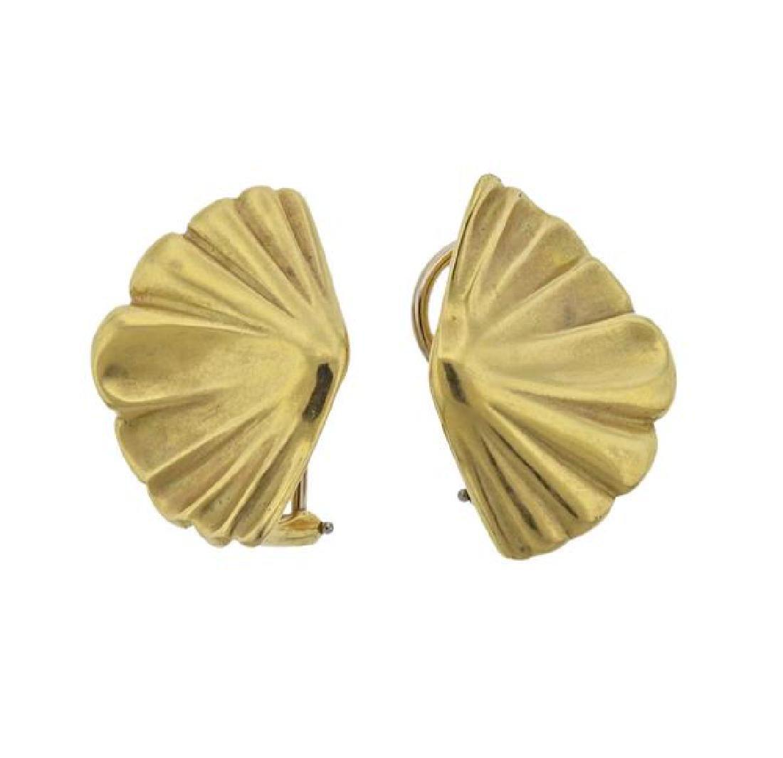 1980s Tiffany & Co 18K Gold Fan Earrings