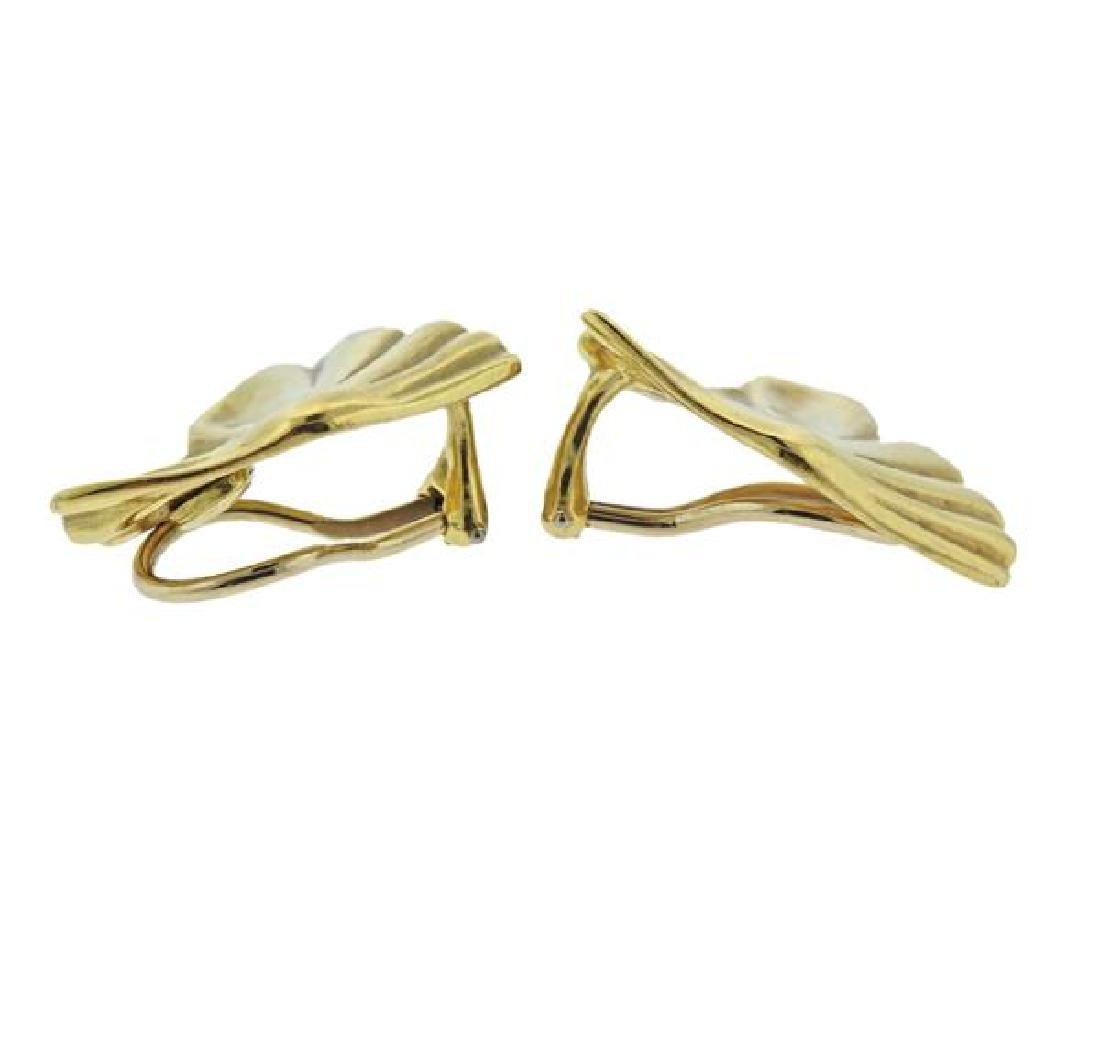 1980s Tiffany & Co 18K Gold Fan Earrings - 2