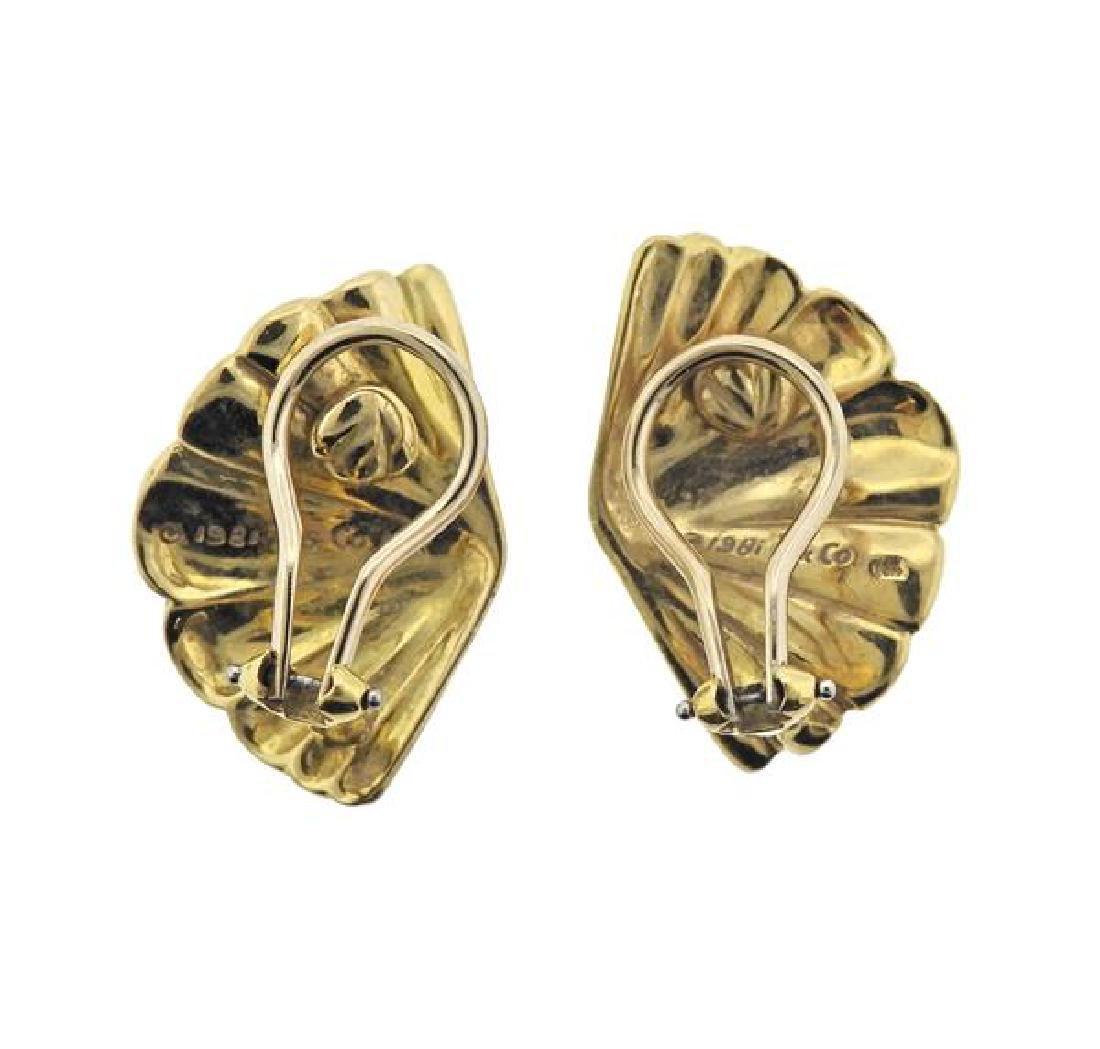 1980s Tiffany & Co 18K Gold Fan Earrings - 3