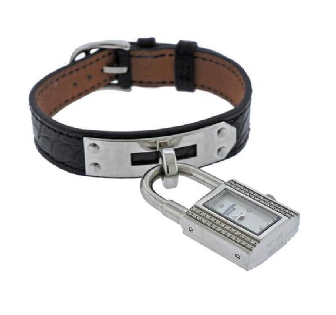 Hermes Kelly Lock MOP Diamond Steel  Watch