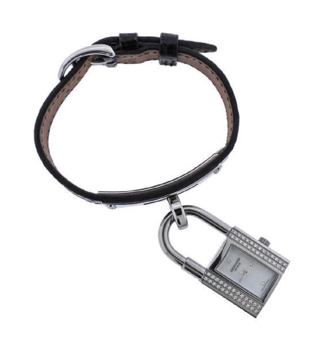 Hermes Kelly Lock MOP Diamond Steel  Watch - 2
