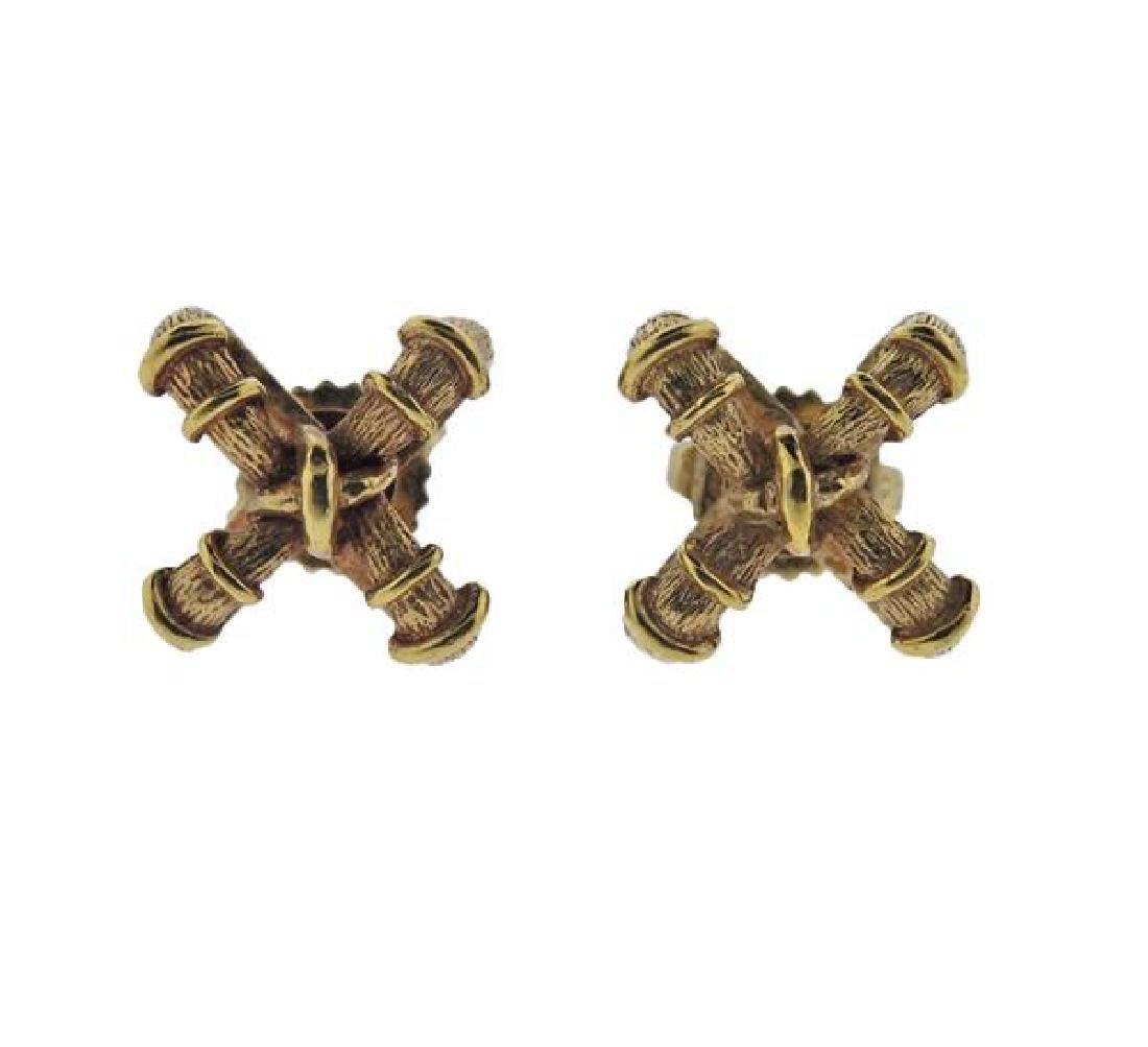 Tiffany & Co 18K Gold X Earrings
