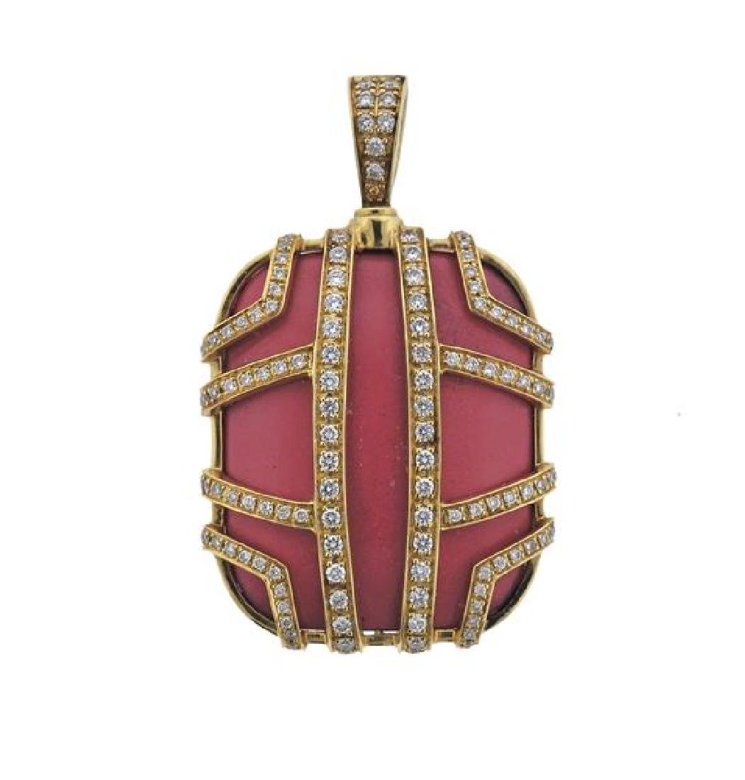 Di Modolo Favola 18K Gold Diamond Coral Pendant
