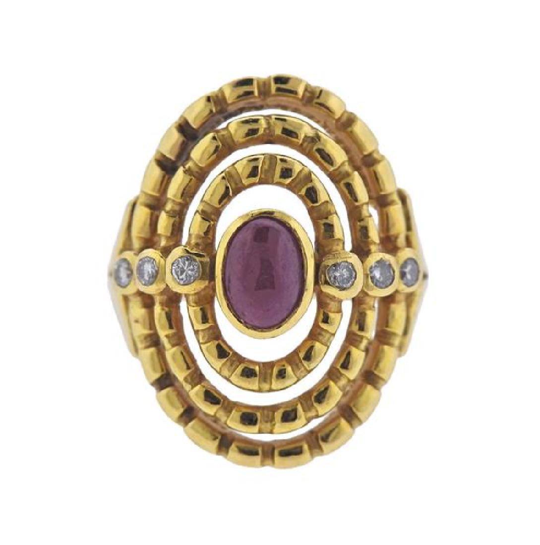 Ilias Lalaounis 18K Gold Diamond Red Stone Ring