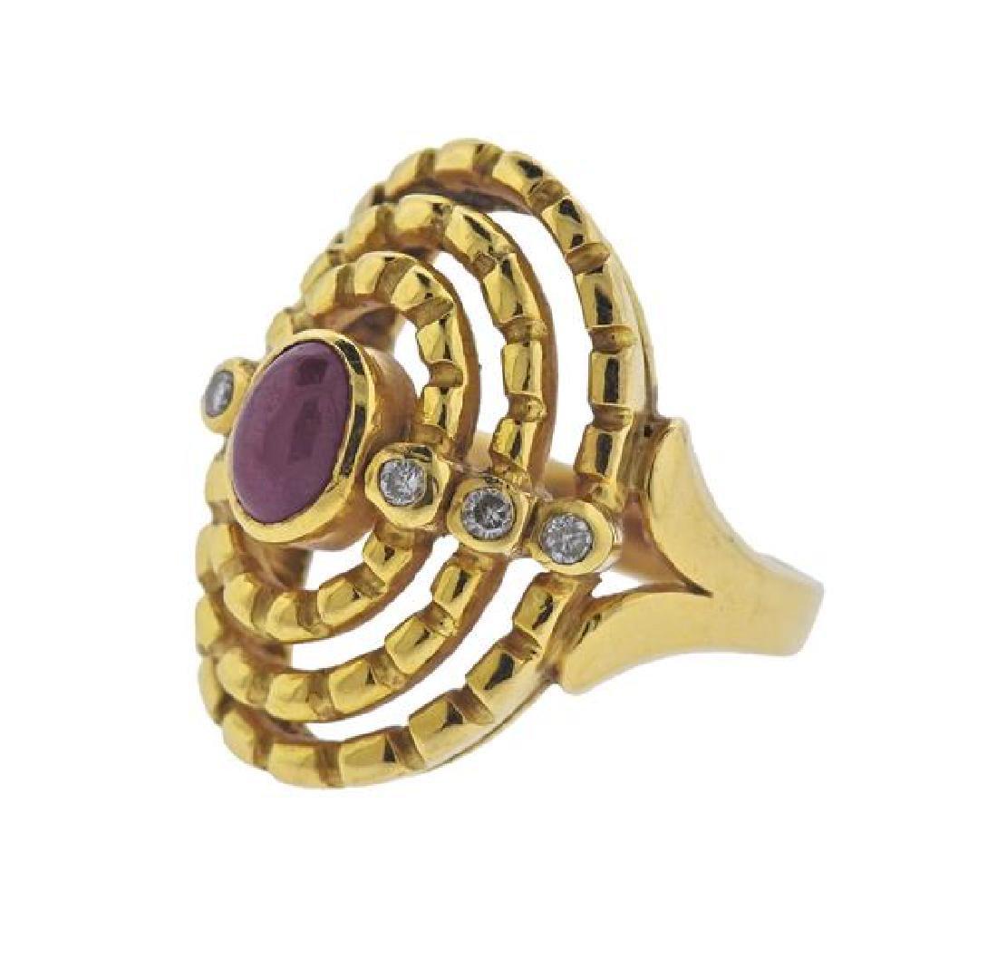 Ilias Lalaounis 18K Gold Diamond Red Stone Ring - 2