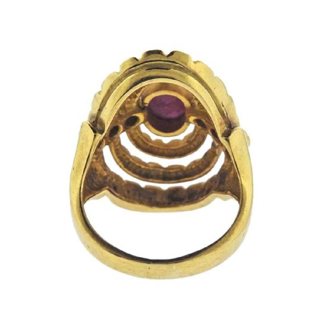 Ilias Lalaounis 18K Gold Diamond Red Stone Ring - 3