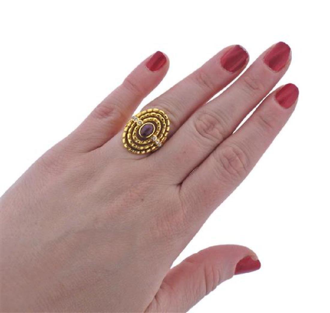 Ilias Lalaounis 18K Gold Diamond Red Stone Ring - 4
