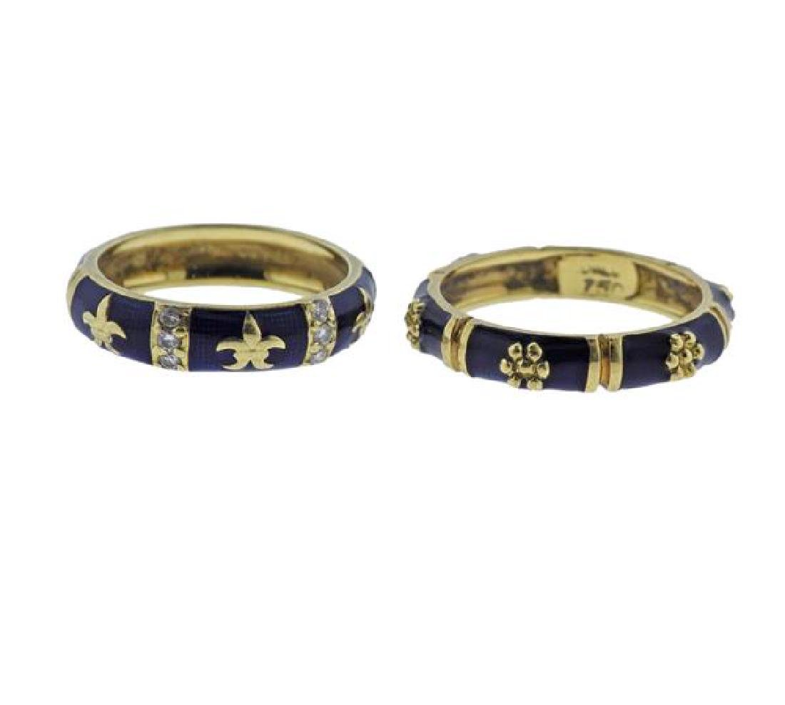Hidalgo 18K Gold Diamond Enamel Band Ring Lot of 2 - 3
