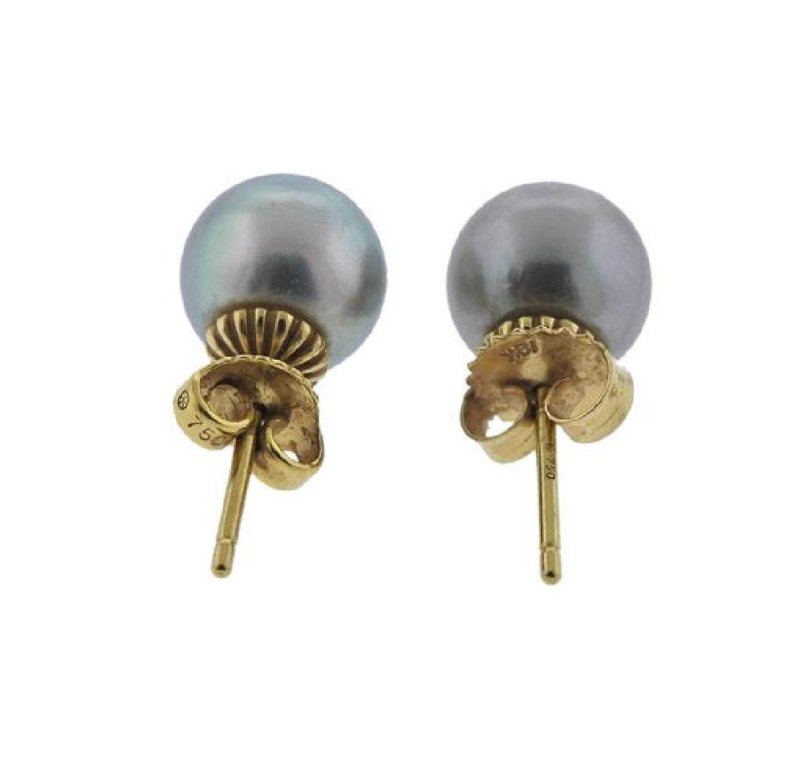 18K Gold Tahitian Pearl Earrings - 3