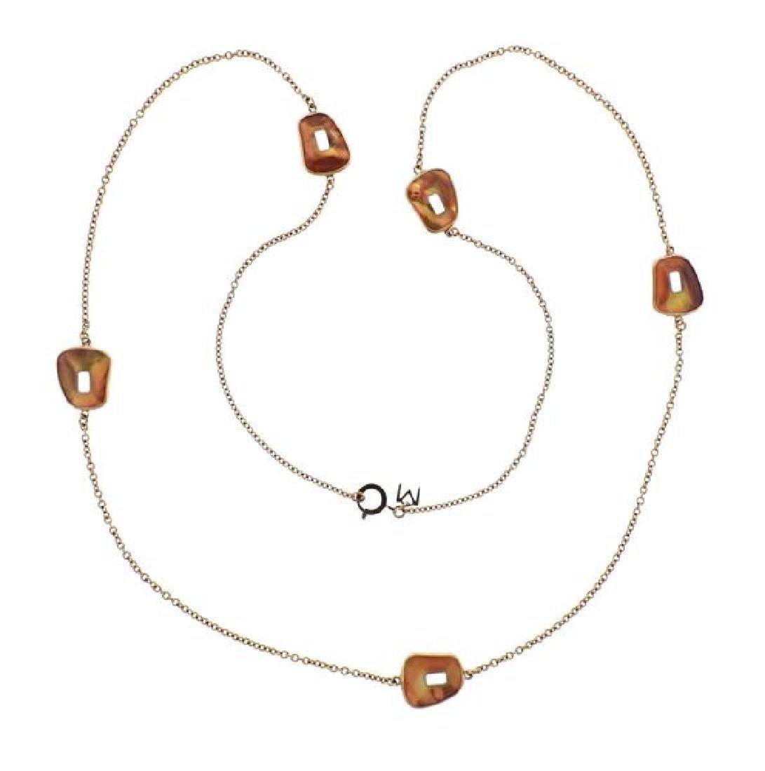 Mattioli 18K Gold Orange MOP Station Necklace