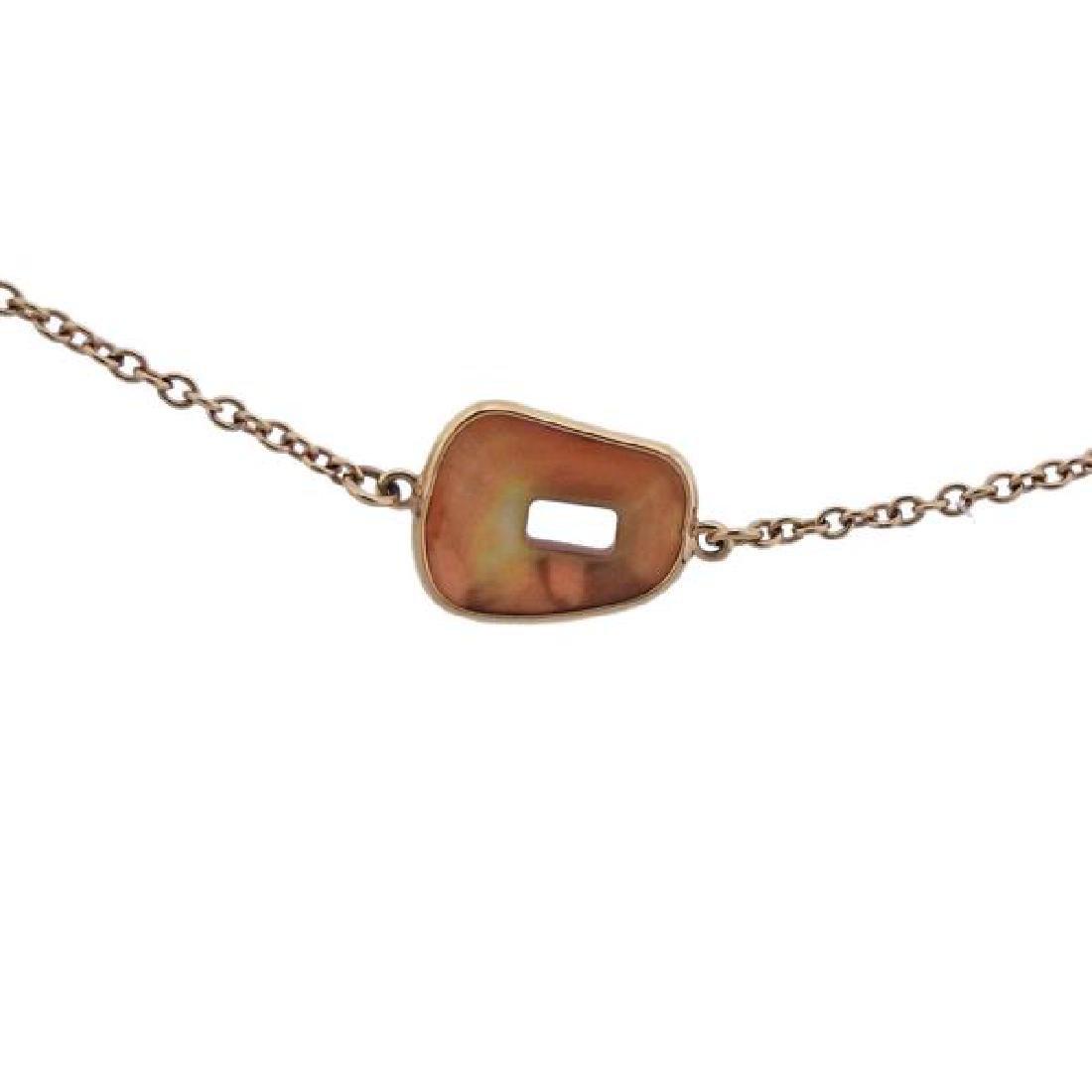 Mattioli 18K Gold Orange MOP Station Necklace - 2