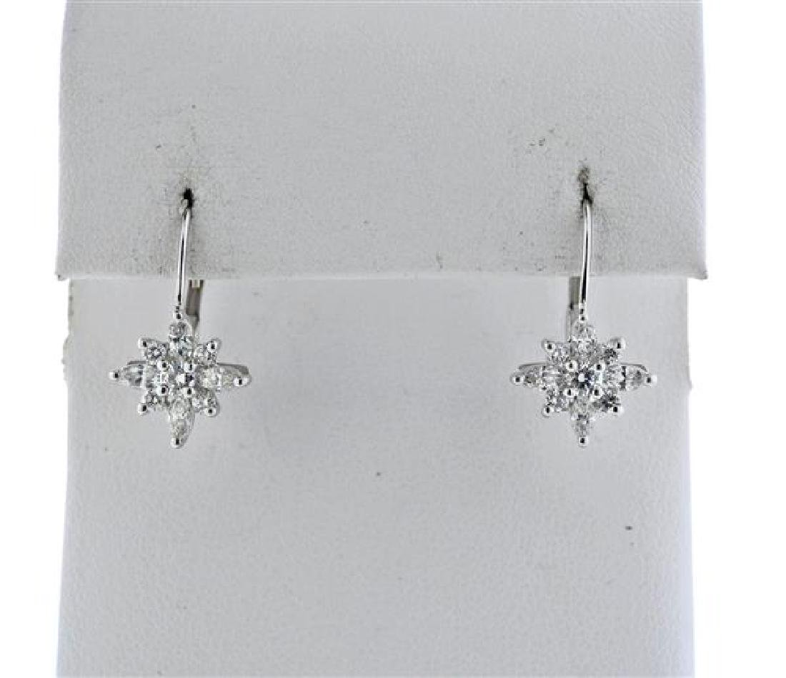 Kwiat Platinum 18K Gold Diamond Star Earrings