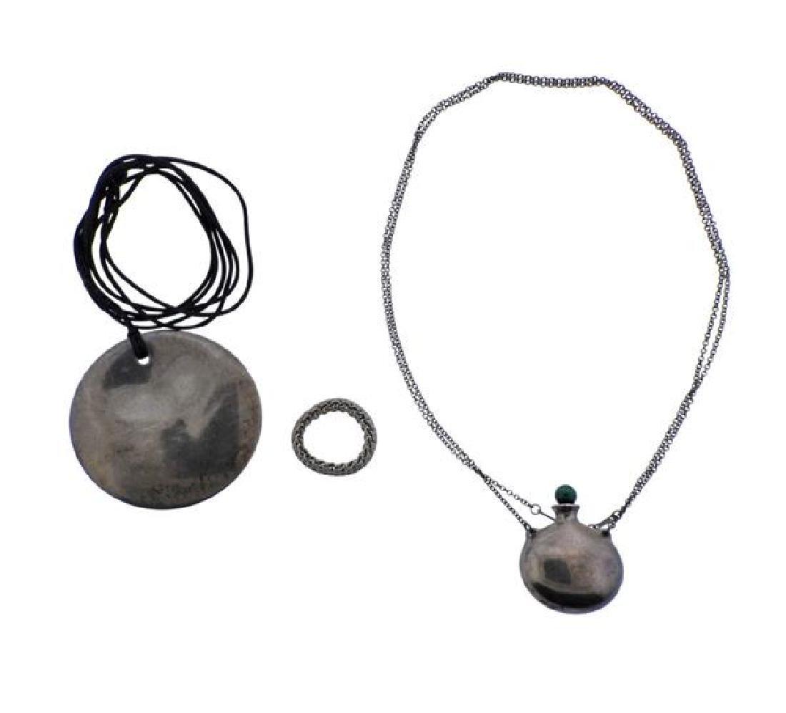 Tiffany & Co Silver Malachite Ring Pendant Necklace