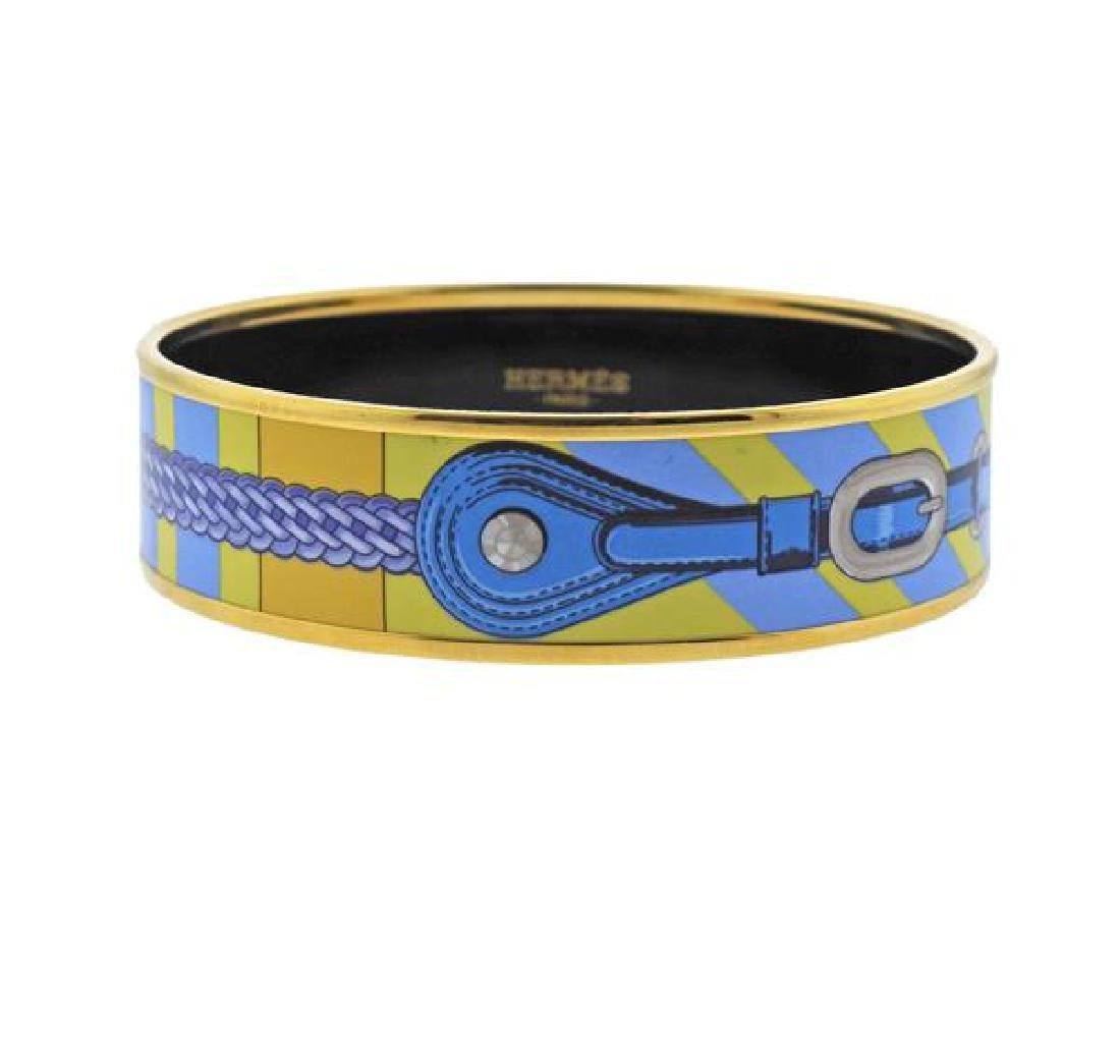 Hermes Blue Enamel Bangle Bracelet