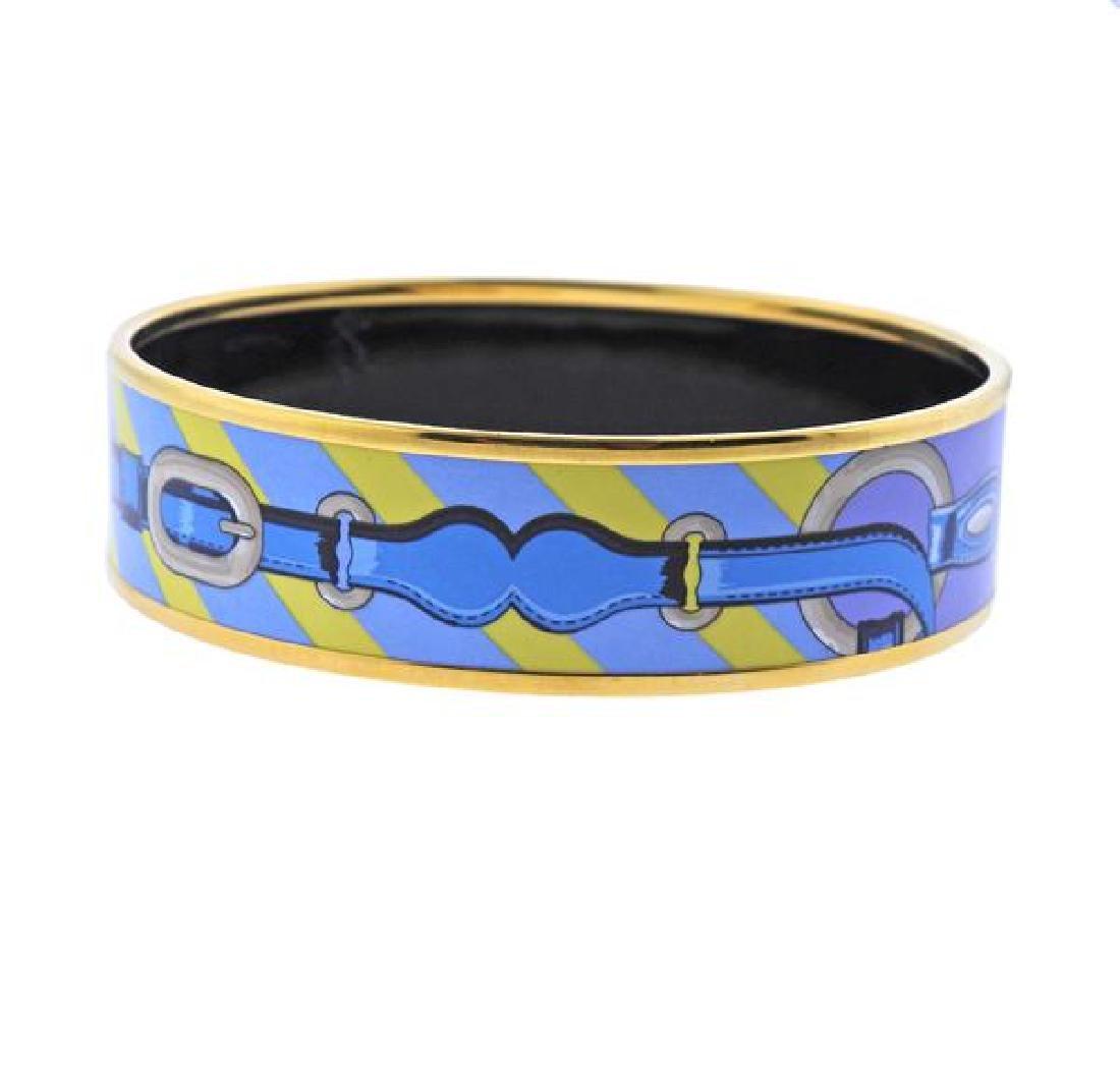 Hermes Blue Enamel Bangle Bracelet - 3