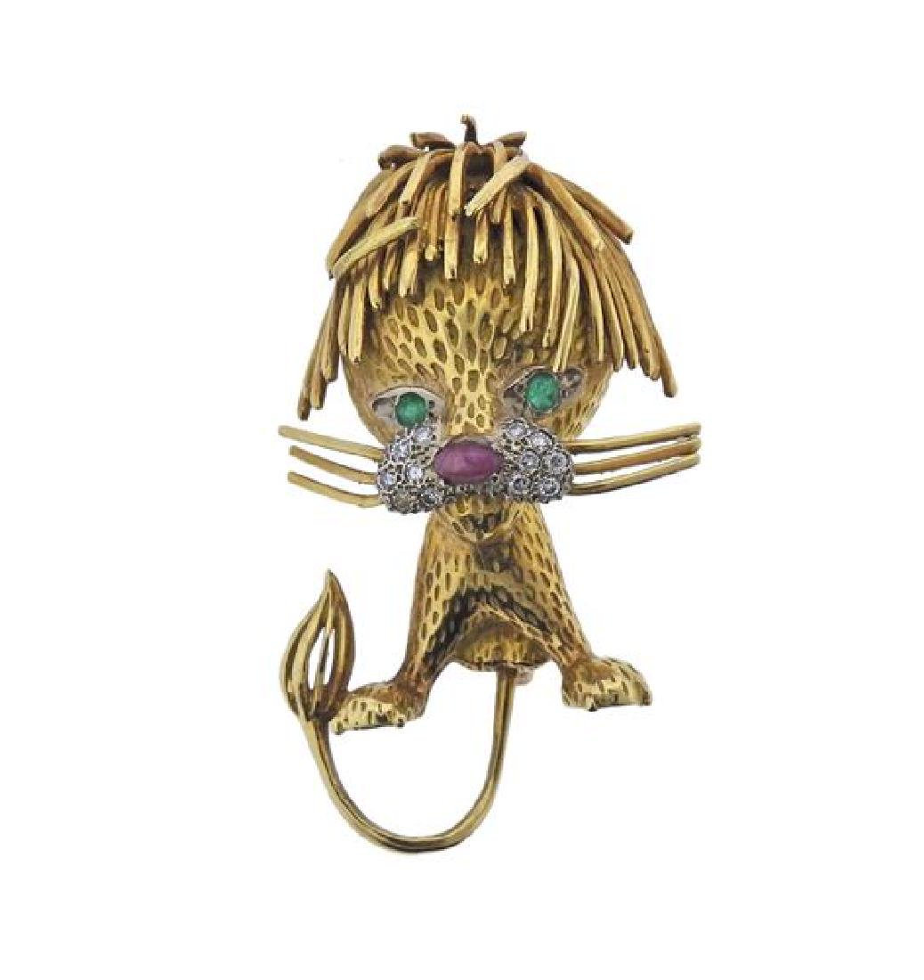 18K Gold Diamond Ruby Emerald Lion Brooch Pin