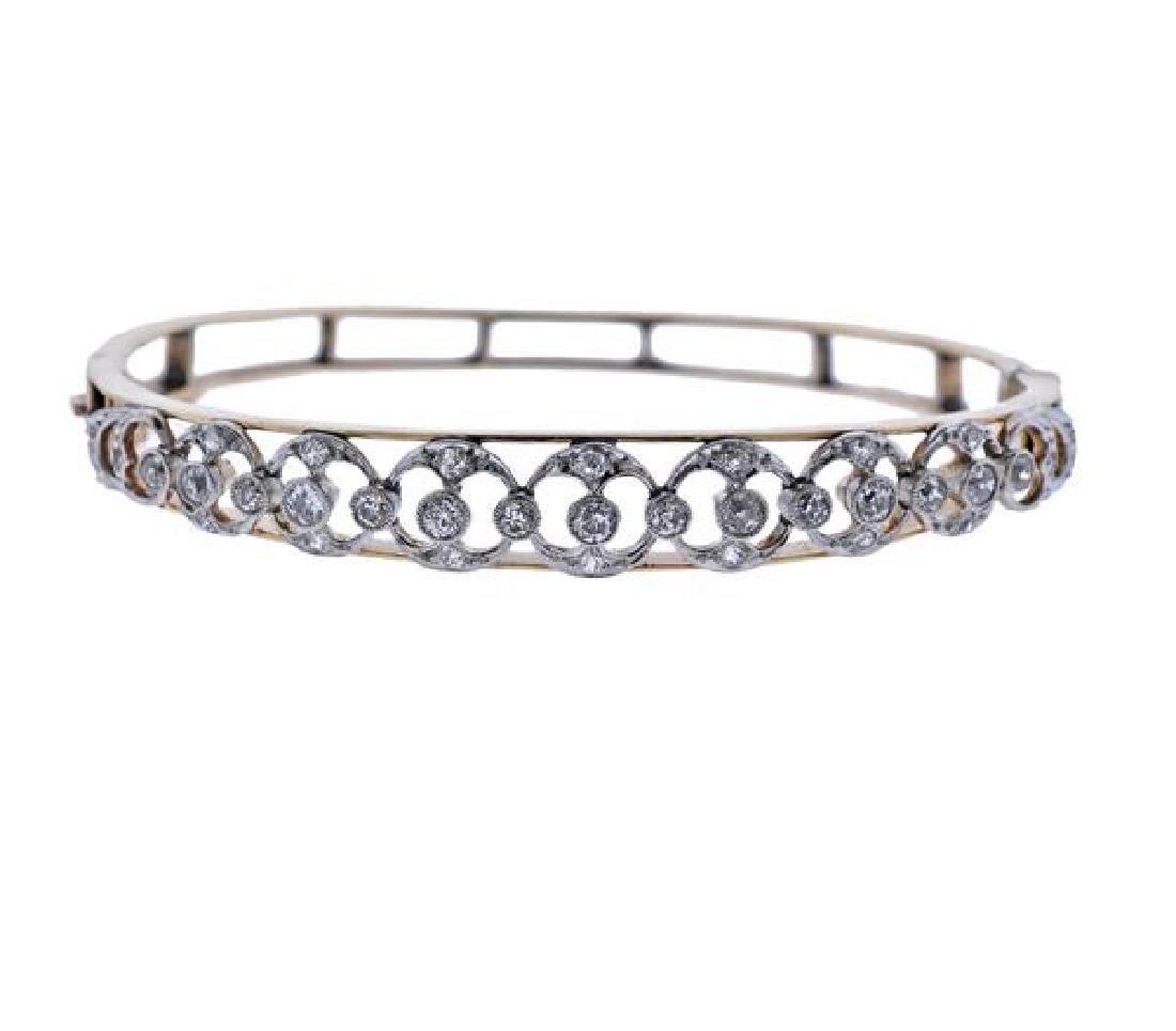 14K Gold Platinum Diamond Bangle Brcaelet