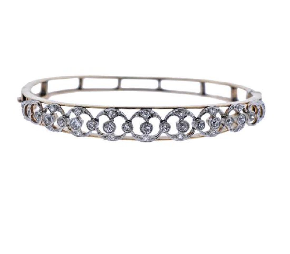 14K Gold Platinum Diamond Bangle Brcaelet