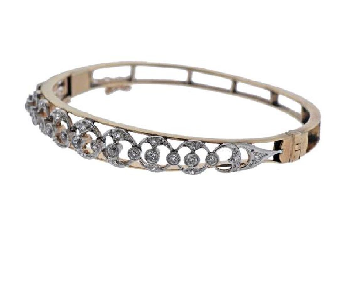 14K Gold Platinum Diamond Bangle Brcaelet - 2
