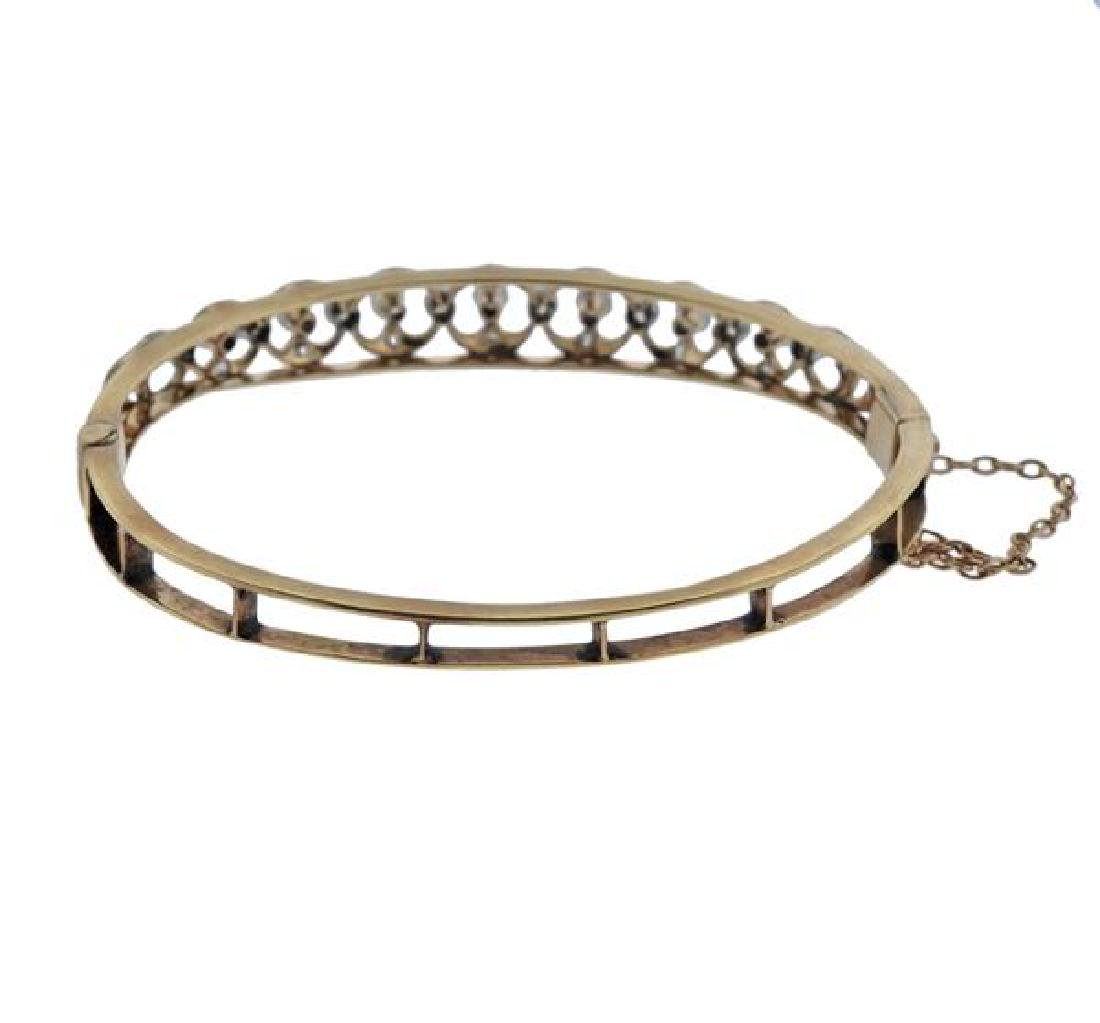 14K Gold Platinum Diamond Bangle Brcaelet - 3