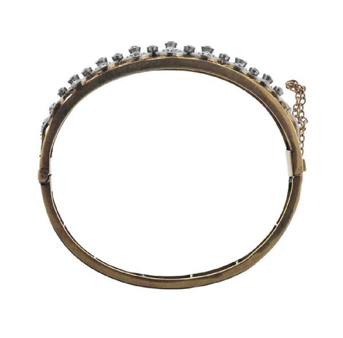 14K Gold Platinum Diamond Bangle Brcaelet - 5