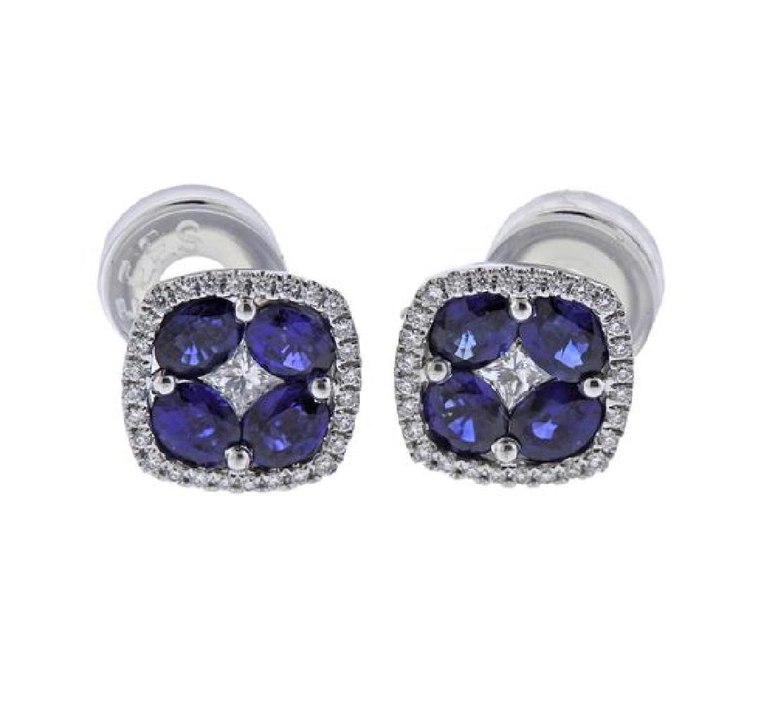 18K Gold Diamond Blue Stone Earrings