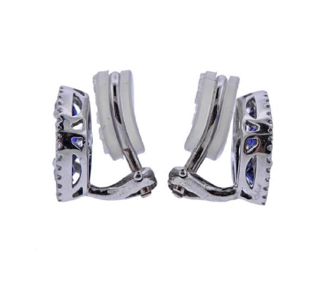 18K Gold Diamond Blue Stone Earrings - 2