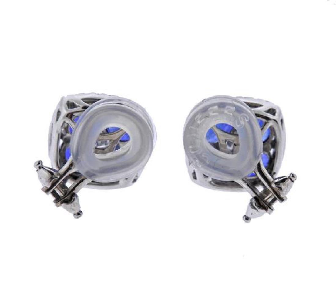 18K Gold Diamond Blue Stone Earrings - 3