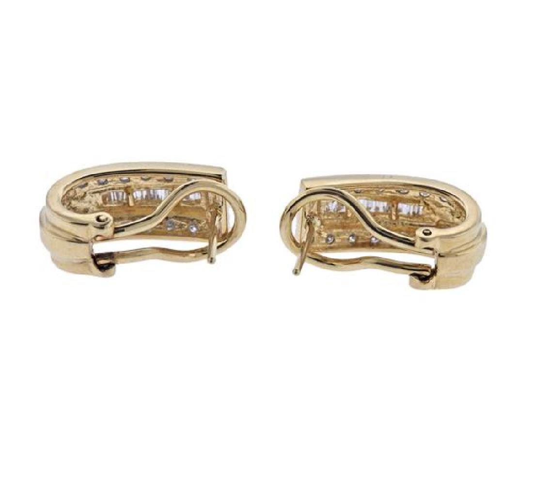 14K Gold Diamond Half Hoop Earrings - 3
