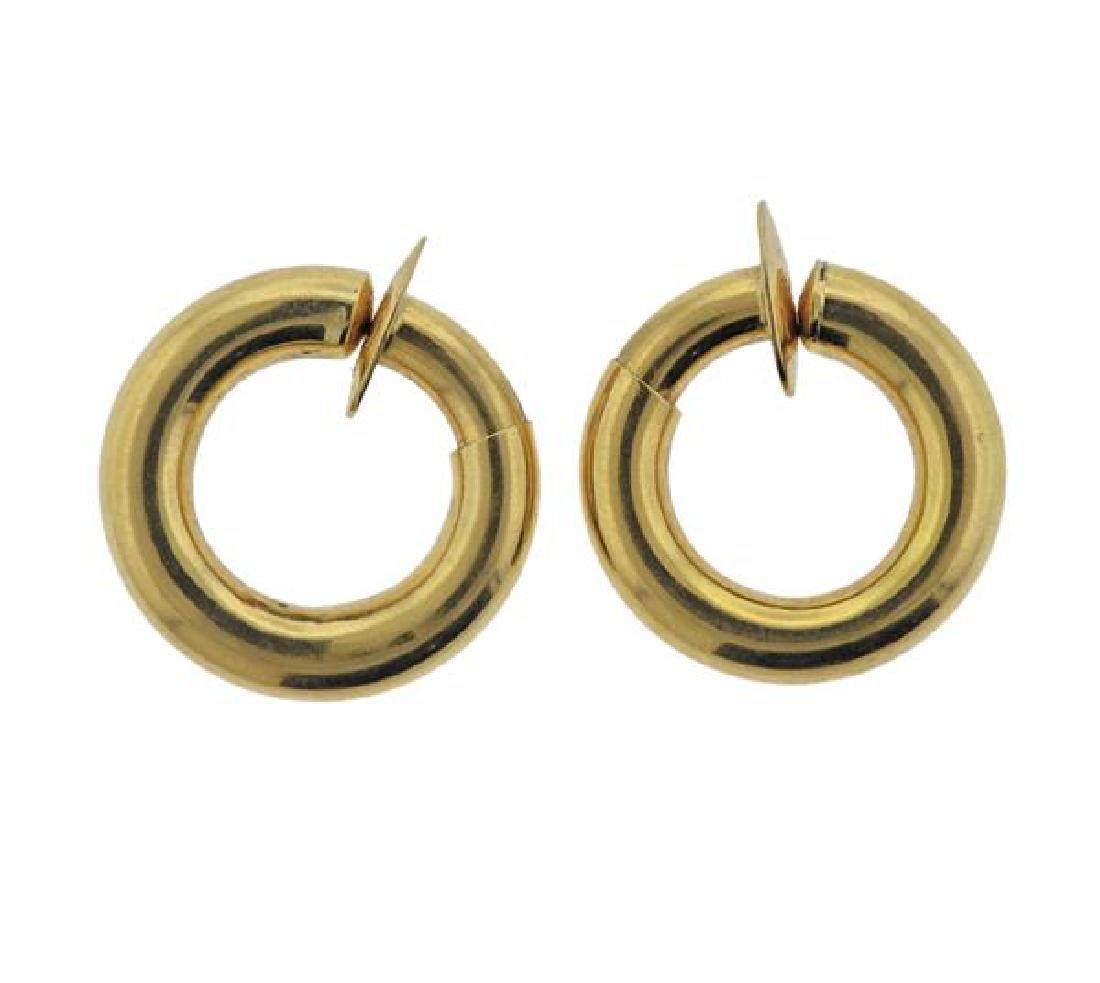 18K Gold  Hoop Earrings - 2