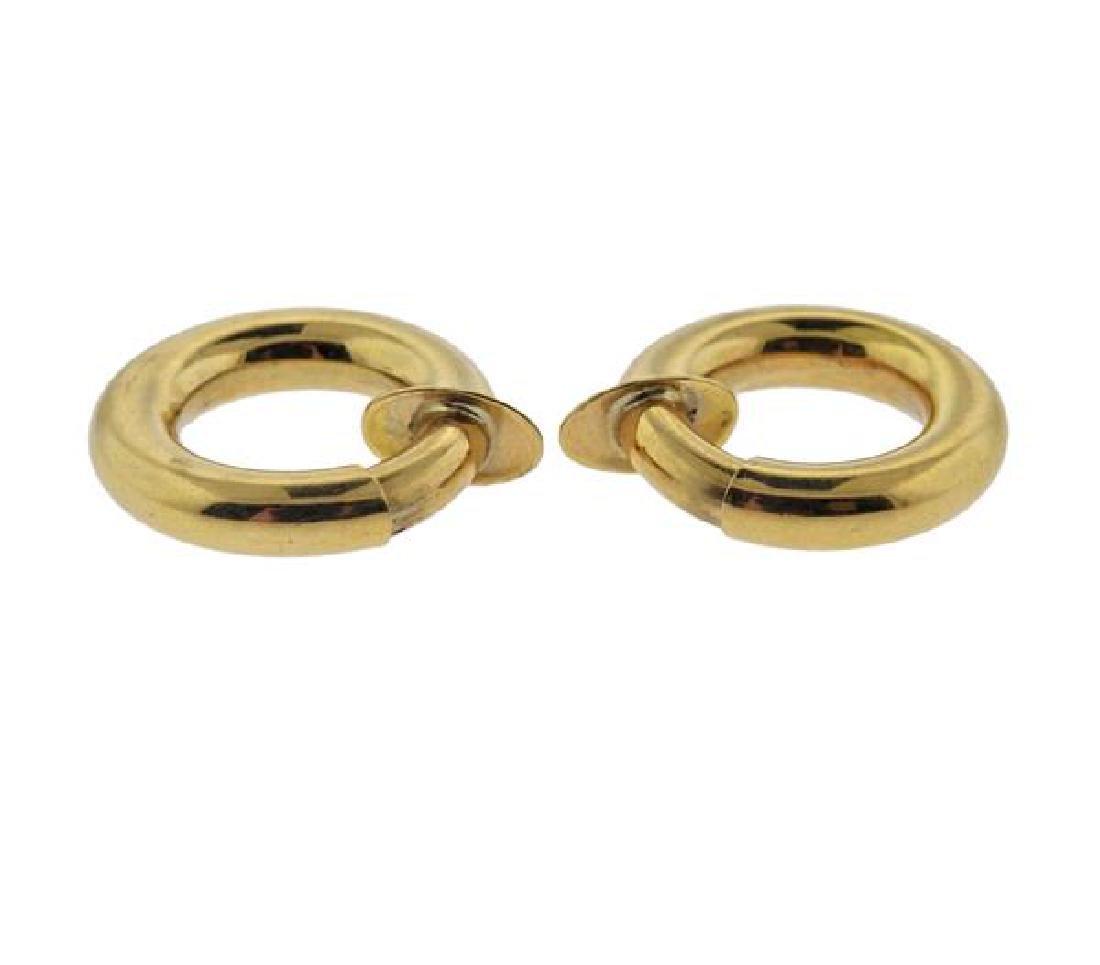 18K Gold  Hoop Earrings - 3