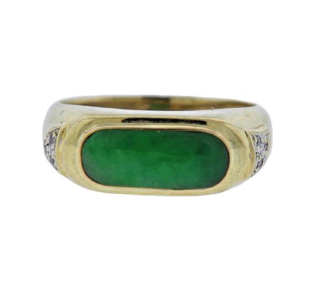 14K Gold Diamond Jade Ring
