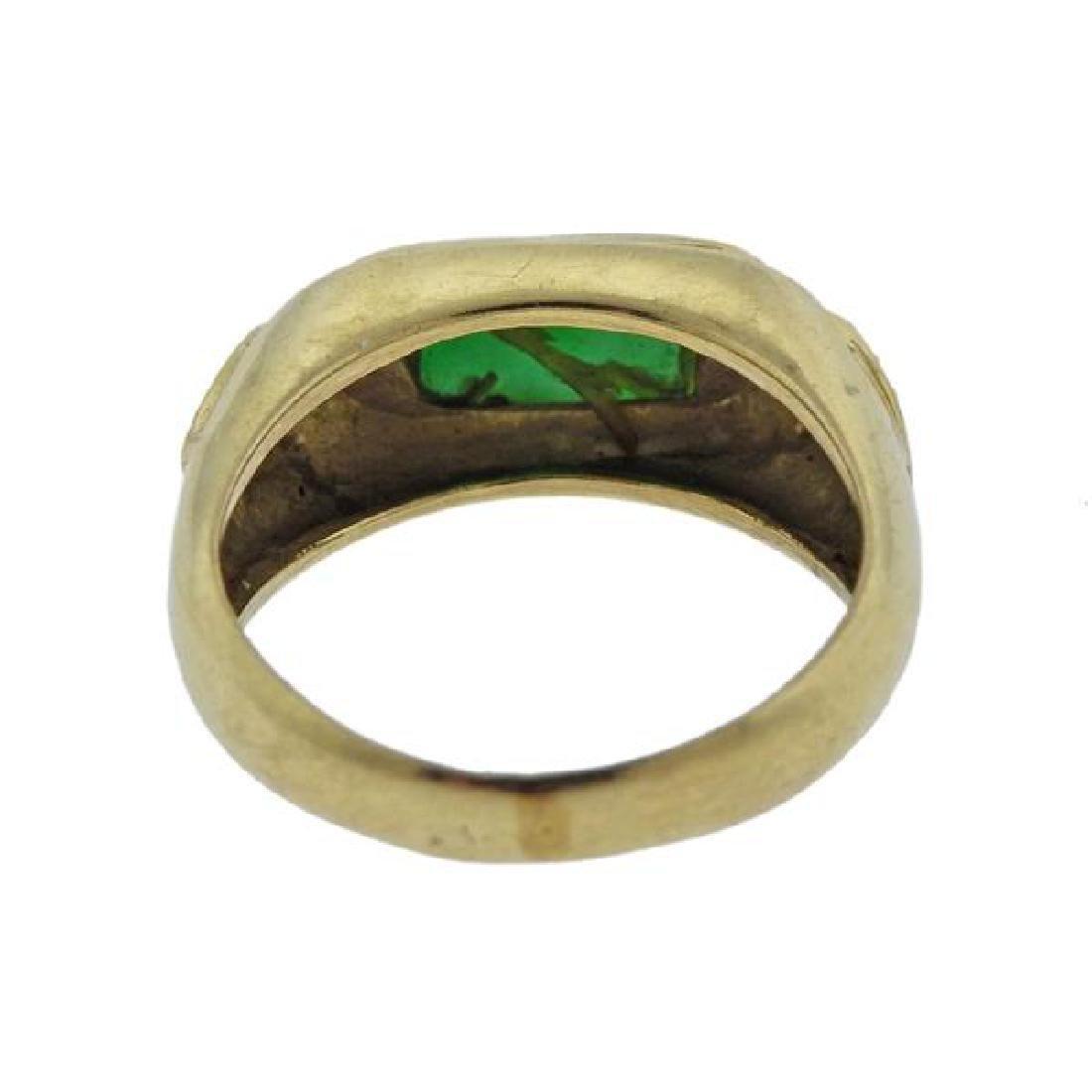 14K Gold Diamond Jade Ring - 3