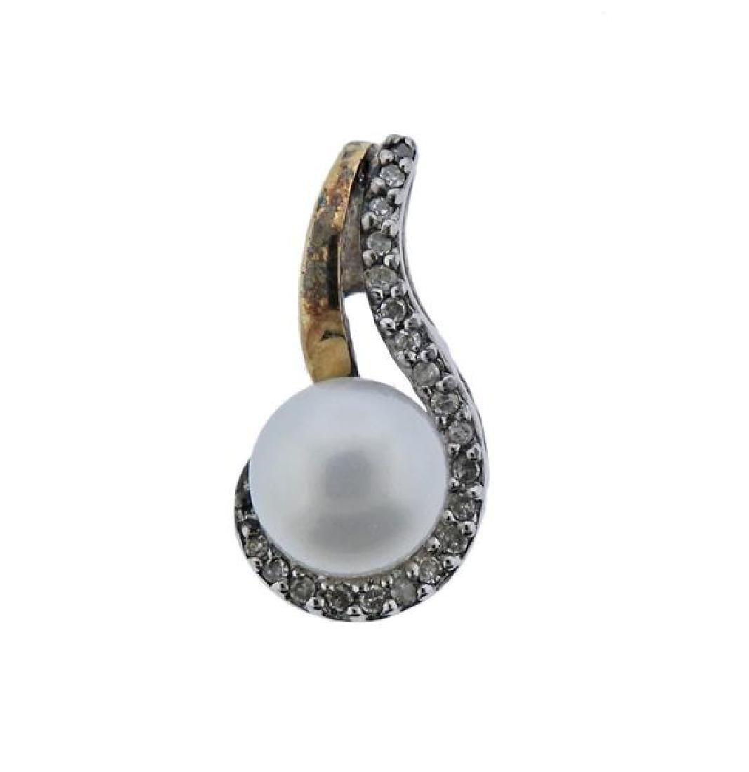 14K Gold Sterling Diamond Pearl Earrings Pendant Set - 2