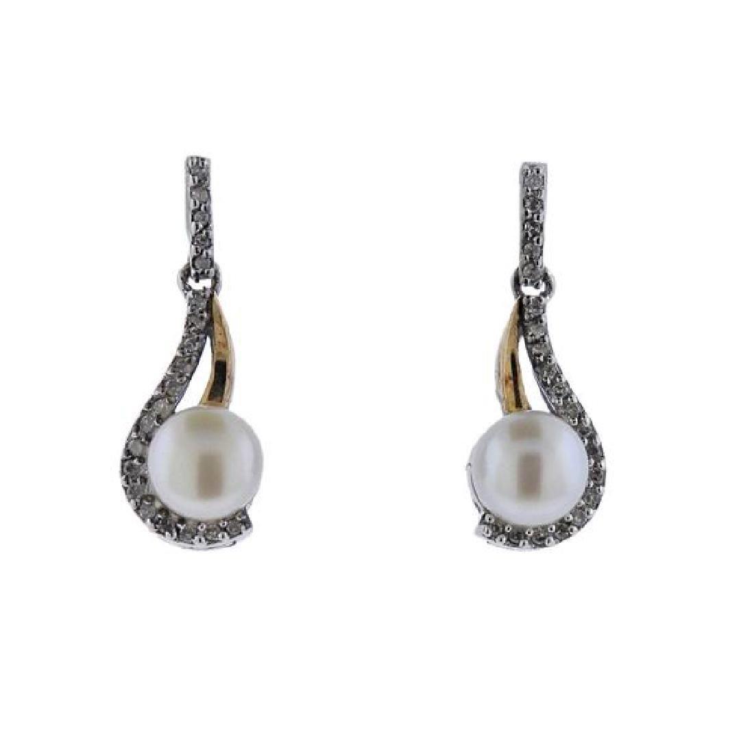 14K Gold Sterling Diamond Pearl Earrings Pendant Set - 3