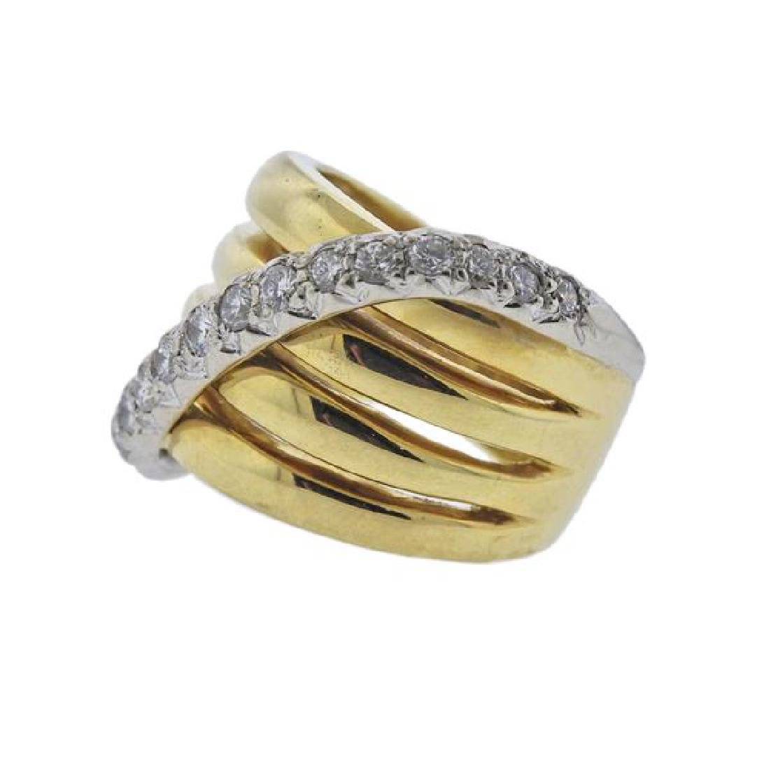 18K Gold Diamond Wide Band Ring - 2
