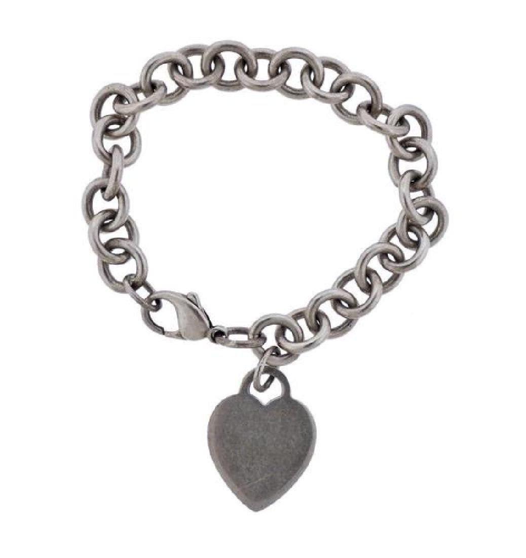 Tiffany & Co Sterling Heart Charm Chain Bracelet