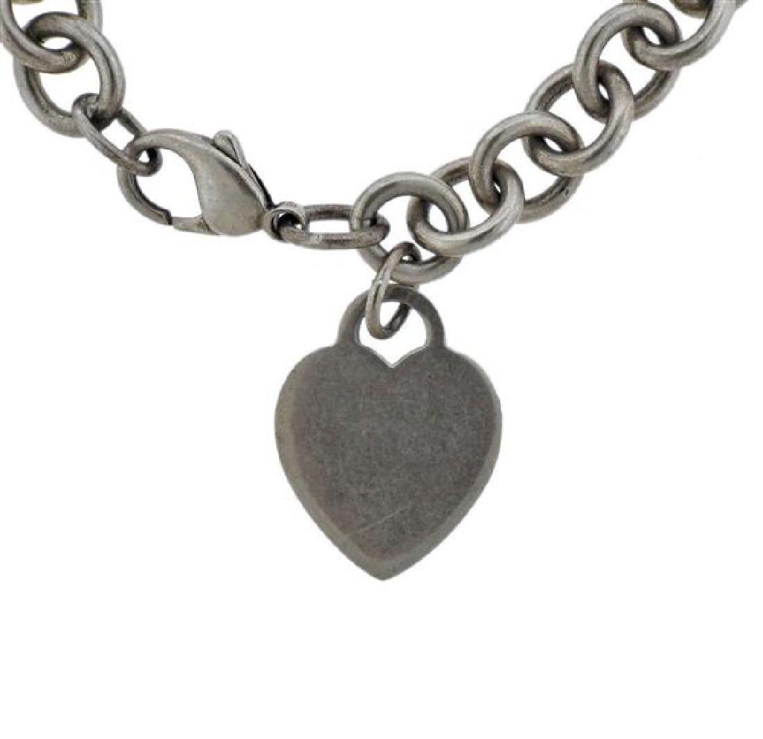 Tiffany & Co Sterling Heart Charm Chain Bracelet - 2