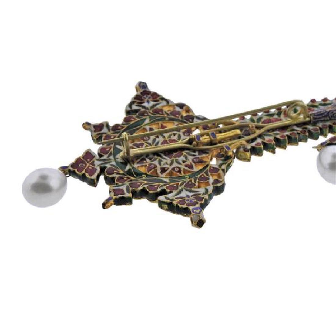 Indian High Karat  Gold Diamond Pearl Enamel Brooch - 4