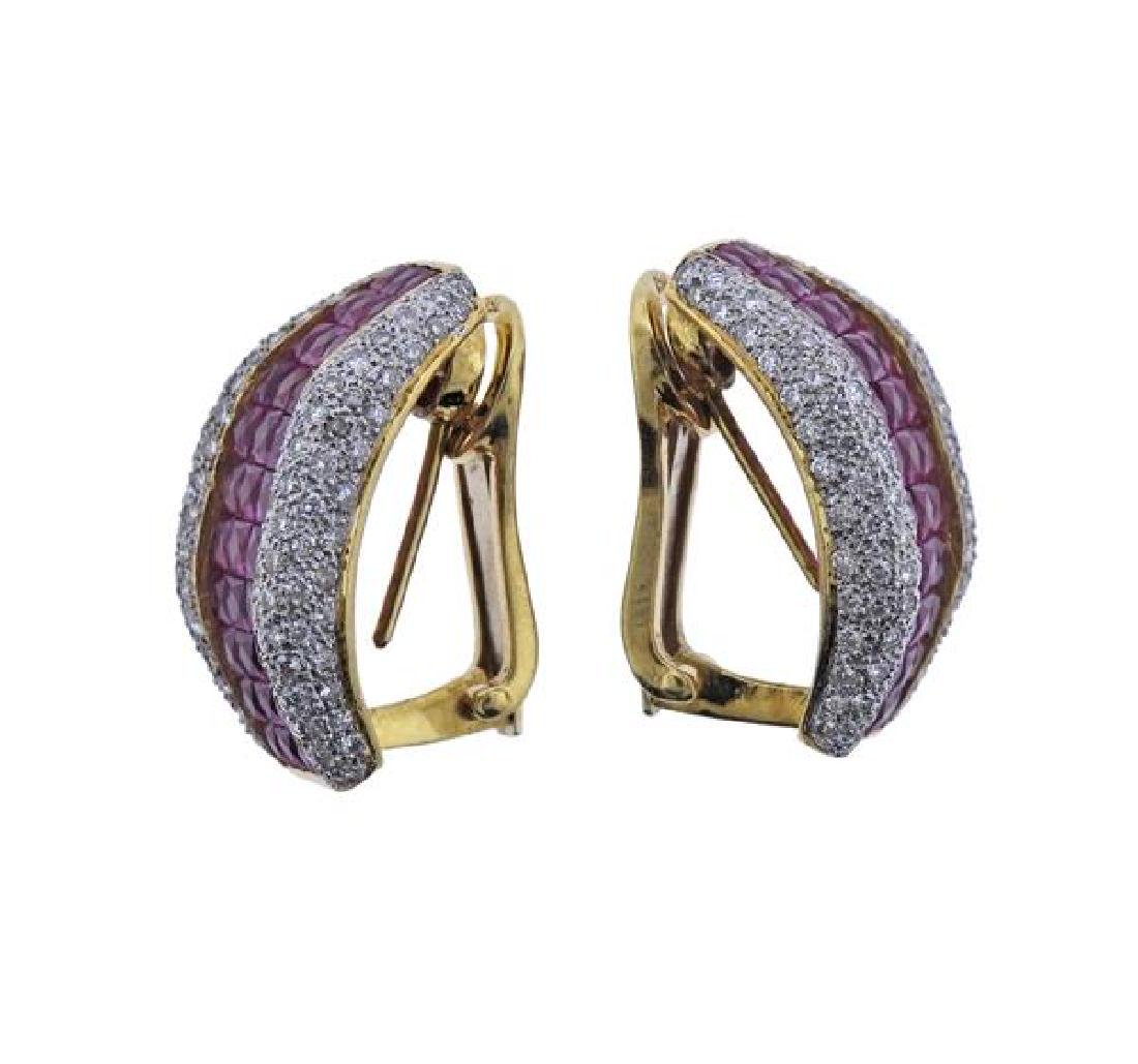 18K Gold Diamond Ruby Earrings - 2