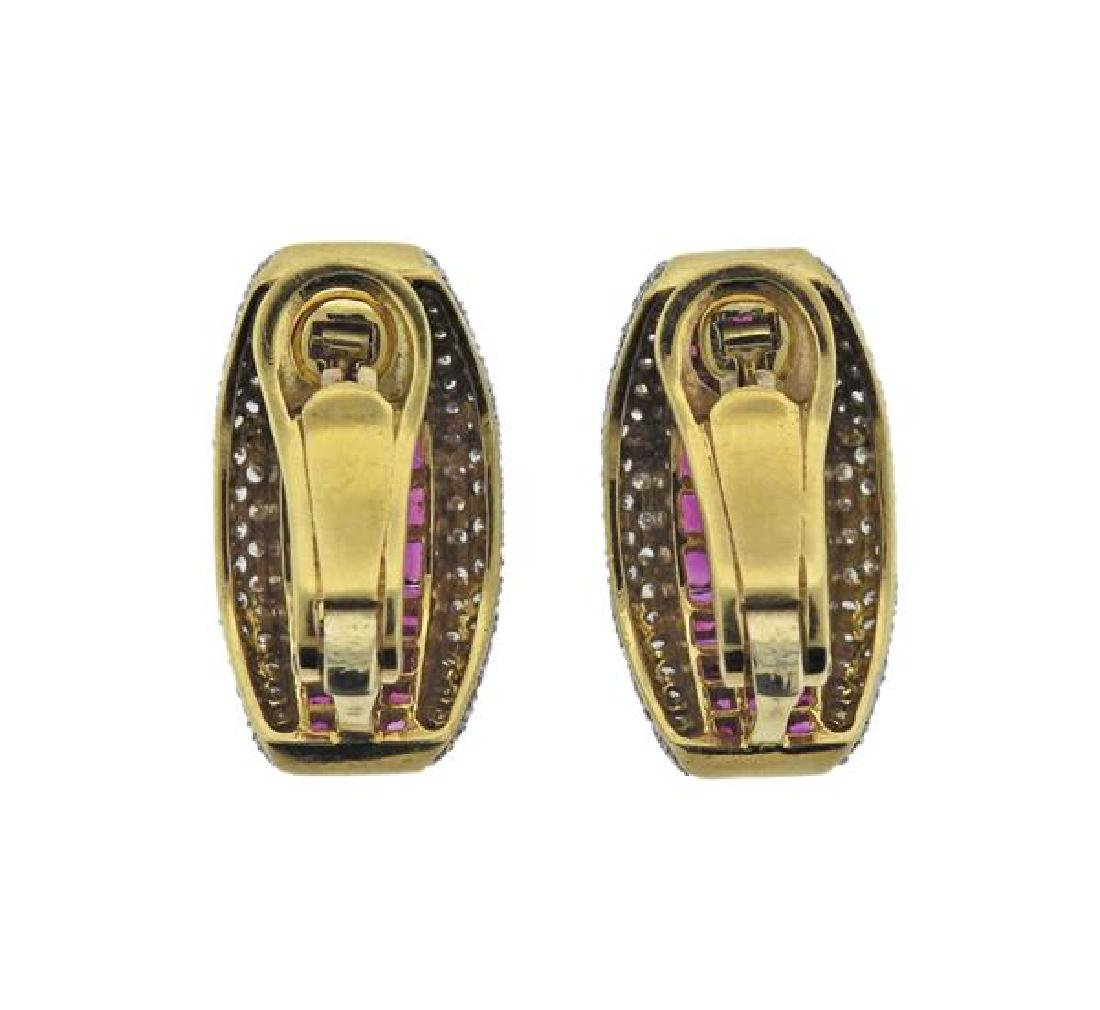 18K Gold Diamond Ruby Earrings - 3