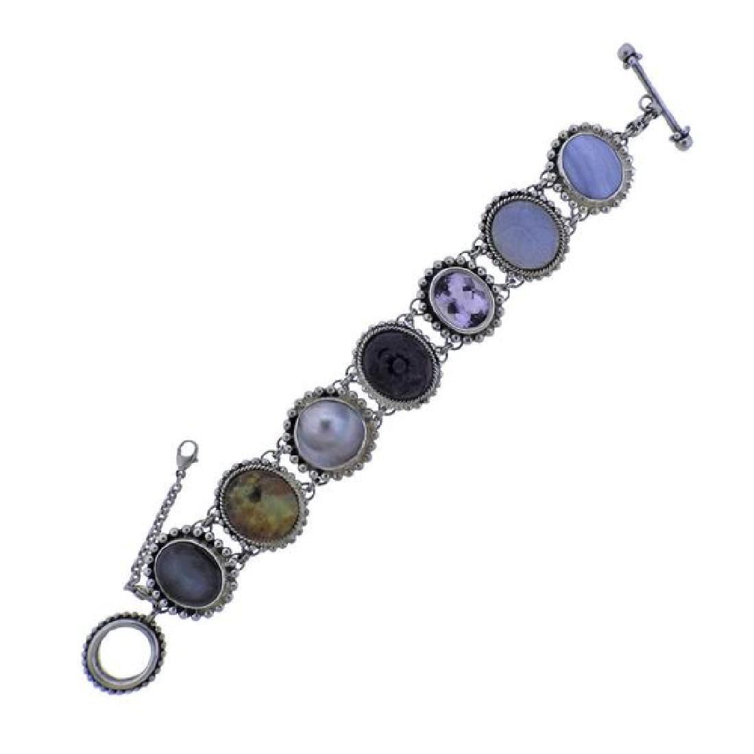 Stephen Dweck Sterling Multi Gemstone Toggle Bracelet